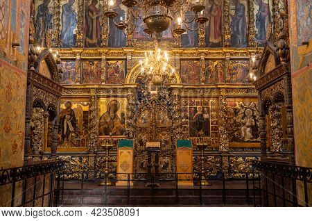 Yaroslavl, Russia - May 13, 2019: Interior Of The Church Of Elijah The Prophet. Gilded Carved Iconos