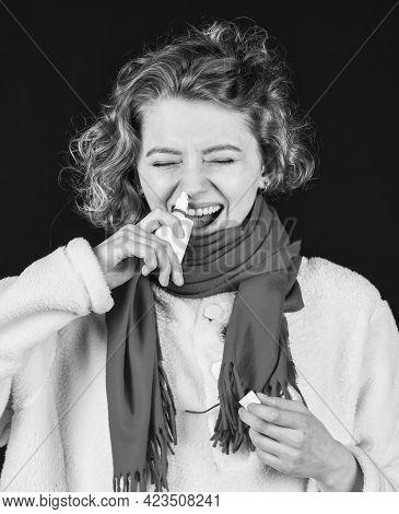 Runny Nose. Inflammation Nasal Sinus. Chronic Sinusitis. Cold Flu Symptoms. Sick Girl Moisturize Muc
