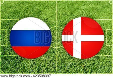 Concept for Football match Russia vs Denmark