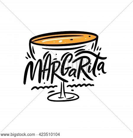 Margarita Cocktail Text Name. Black Color Lettering. Line Art Vector Illustration.