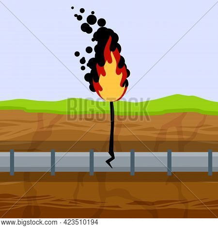 Gas Pipeline Breakthrough. Pipe In Underground. Accident On Oil Pipeline. Fire And Conflagration. En