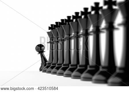 Chess Pawn Peeks Out At The End Of A Queue Of Kings. Job Recruitment Concept. 3d Illustration.