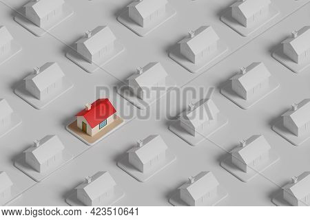 Isometric View Of A Colored House Among Many Other White Houses. Real Estate Concept. 3d Illustratio