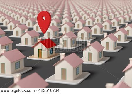 Map Pointer Over A House Among Many Other Houses. Selective Focus. Real Estate Concept. 3d Illustrat