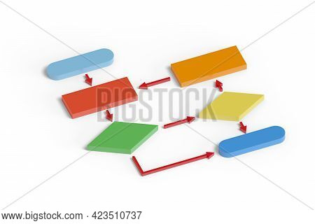 Colorful Flow Chart In Three Dimensions. 3d Illustration.