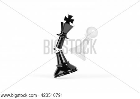 Chess Pawn Smashing A King Into Pieces. Winning Success Concept. 3d Illustration.