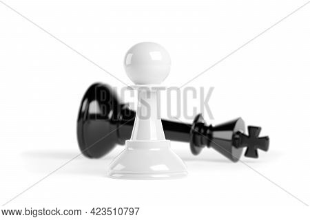 Chess Pawn In Front Of A Fallen King. Winning Success Concept. 3d Illustration.