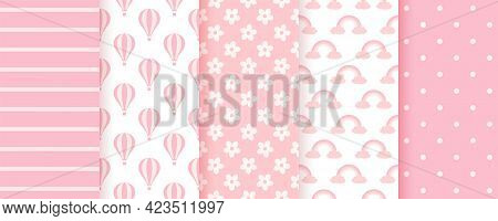 Baby Shower Seamless Pattern. Pink Pastel Backgrounds. Baby Girl Geometric Prints. Vector. Set Of Ki