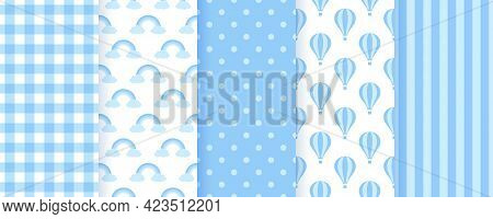 Baby Shower Seamless Pattern. Blue Pastel Background. Baby Boy Geometric Print. Vector. Set Of Kids