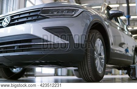 Moscow Russia - June 12 2021: Luxury Suv Car In A Car Service Station. In The Background, The Interi