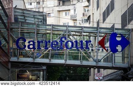 Bucharest, Romania - June 08, 2021: The Logo Of The French Multinational Retailer Carrefour Is Seen