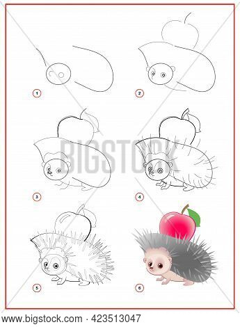 How To Draw Cute Little Hedgehog With Apple. Educational Page For Children. Creation Step By Step An