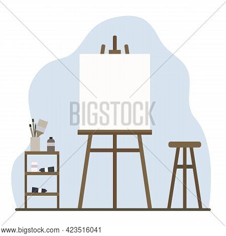 Canvas On An Easel, A Table With Brashes And Paint, A Chair. Studio And Workplace For Artist. Flat M