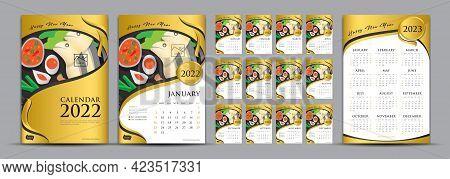 Desk Calendar 2022 Set And Calendar 2023 Year Vector Template, Gold Cover Calendar 2022 Design, Wall