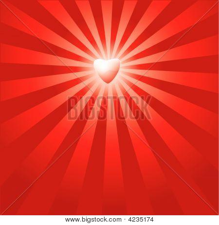 Red Burst Herz Hintergrund