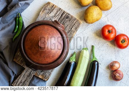 Handmade Casserole (guvec) From Earthen With Lid, Pot From Making Delicious Food