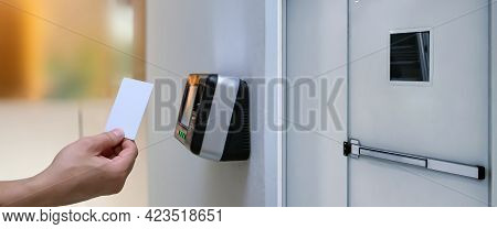 Proximity Card Reader Door Unlock, Close Up Hand Of Security Man Using Id Card To Scanning At The Ac