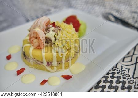 Peruvian Food: Causa Rellena De Atun. Tuna Causa Rellena. Traditional Peruvian Dish From Yellow Pota