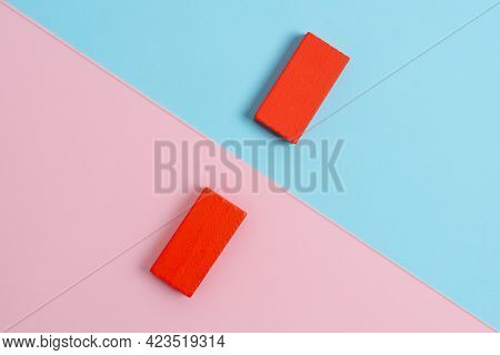Comparison Of Two Objects Blocks Pencils Sticker Notes Facing Inward Outward Making An Arrangement R