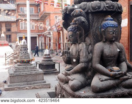 Sculpture Carving Stone Figure Deity Angel God Buddha Statue In Ruins Wall Or Nepali People And Fore