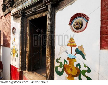 Eyes Of Lord Buddha On Wall Of Kanga Ajima Temple For Nepali People And Foreign Travelers Travel Vis