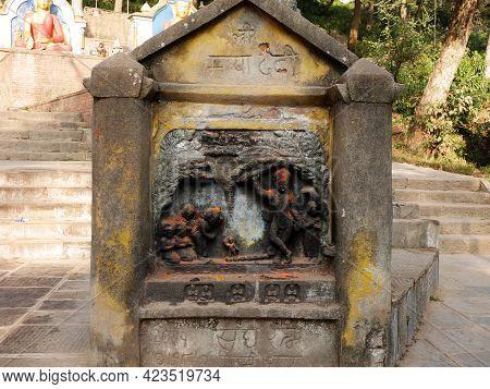 Ancient Antique Ruins Archaeological Building Of Swayambhunath Pagoda Chedi Or Swoyambhu Stupa Or Mo
