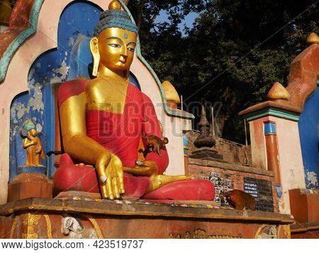 Buddha Statue Nepalese Style At Swayambhunath Pagoda Chedi Or Swoyambhu Stupa Or Monkey Temple For N
