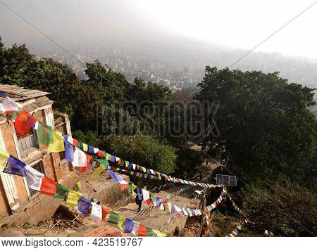Stairs Way For Nepali People And Foreign Traveler Walking Up To  Swayambhunath Pagoda Or Swayambu Or