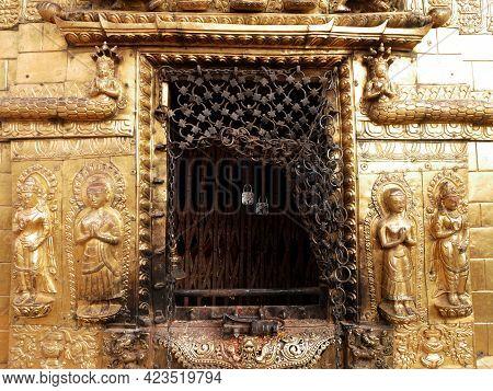 Hariti Nepalese Golden Shrine Or Ajima Hindu Gold Temple At Swayambhunath Pagoda Stupa Or Monkey Tem