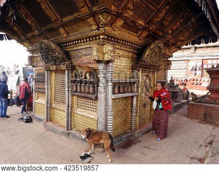 Hariti Nepalese Golden Shrine Or Ajima Hindu Gold Temple At Swayambhunath Or Monkey Temple For Nepal
