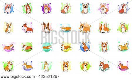 Icon Set Of Cute Cartoon Vector Illustration Of A Corgi Puppy Dog.
