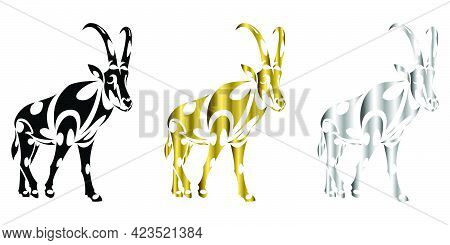 Line Art Vector Of Sable Antelope Is Walking. Suitable For Use As Decoration Or Logo.