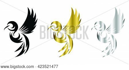 Flying Hummingbird Three Color Black Gold Silver Line Art Vector Illustration On A White Background
