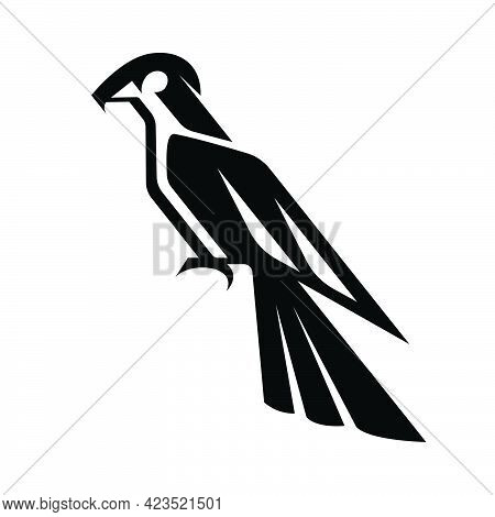 Black Line Art Vector Illustration On A White Background Of A Falcon Suitable For Making Logo.