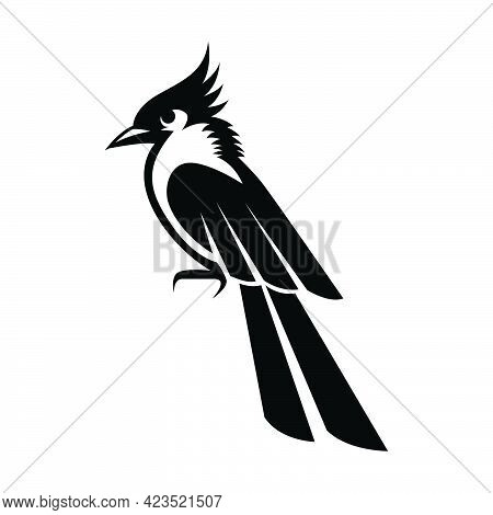 Black Vector Illustration On A White Background Of A Small Beautiful Bird