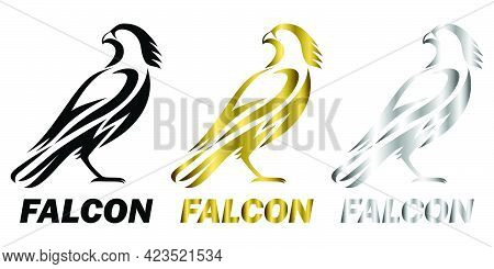 Three Color Black Gold Silver Line Art Vector Illustration On A White Background Of A Falcon. Suitab