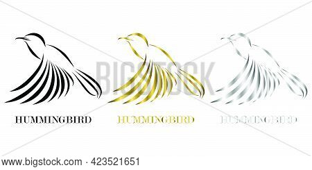 Three Color Black Gold Silver Line Art Vector Illustration On A White Background Of Flying Hummingbi
