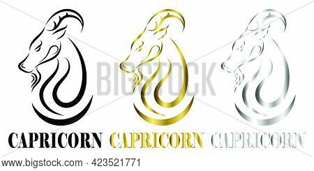 Line Vector Logo Of Goat Head It Is Sign Of Capricorn Zodiac Three Art There Are Three Color Black G