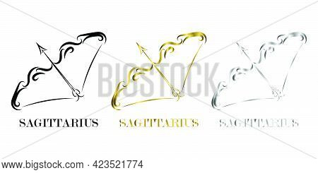 Line Vector Logo Of Bow And Arrow It Is Sign Of Sagittarius Zodiac Three Are Three Color Black Gold