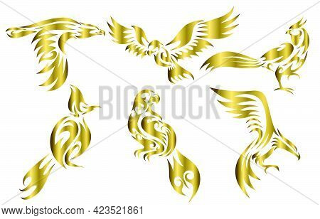 Set Of Six Gold Vector Images Of Various Birds Such As Eagle Hawk Pheasant And Spigot Bulbul  Good U