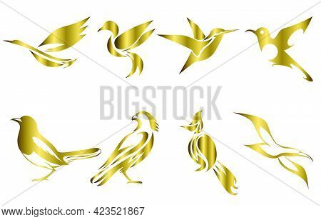 Set Of Gold Vector Images Of Various Birds Such As Heron Hummingbird Magpie Falcon Seagull And Spigo