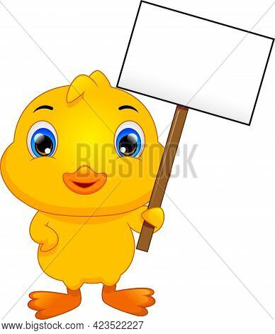 Cute Little Duck Cartoon And Blank Sign On White Background