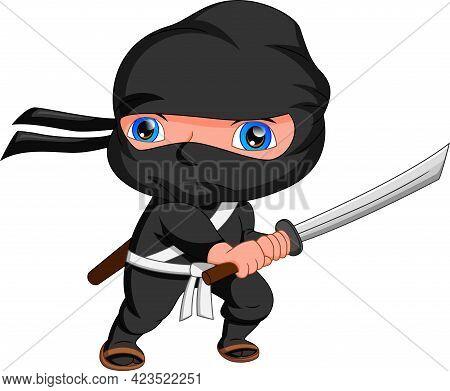 Ninja Cartoon Posing And Holding A Sword