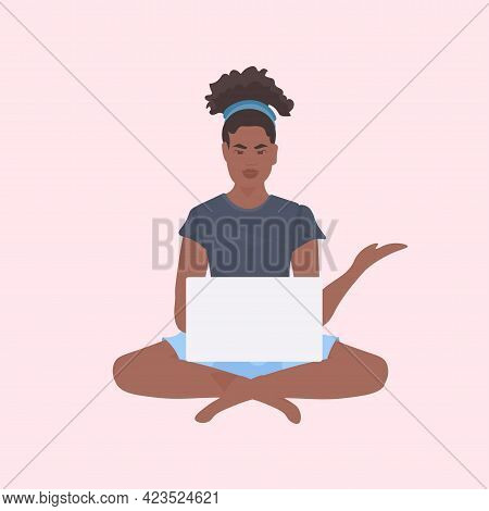 Young Woman Sitting Lotus Pose Working On Laptop Freelance Concept Full Length