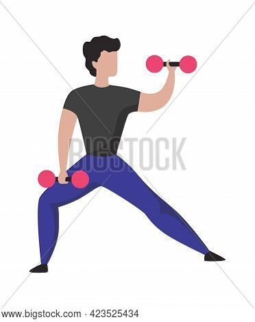 Man With Dumbbells. Sport Training. Cartoon Athletic Character Lifting Weights. Isolated Bodybuilder