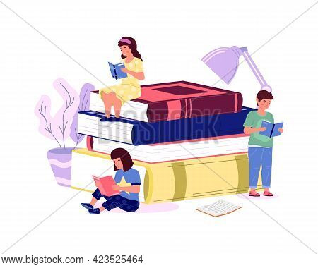 Kids With Books. Cartoon Boys And Girls Read. Home Education Concept. Smart Pupils Study Or Prepare