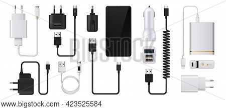Phone Charger. Realistic Smartphone Power Supply. 3d Usb Cables And Electric Plugs. Auto Adaptors Fo