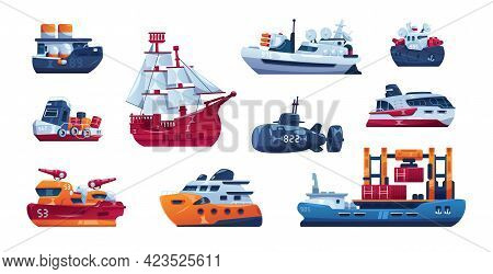 Cartoon Ship. Passenger And Cargo Sea Transport. Funny Steamboat Sails On Water. Fishing Trawler Or