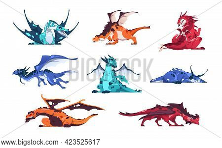 Dragon. Cartoon Fairy Tale Creatures. Magical Animals Set. Mythological Predators Flying And Sleepin