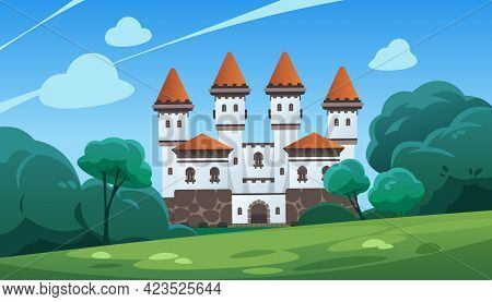 Castle. Cartoon Landscape With Medieval Stronghold And Forest. Scenic View Of Fortified Building. Eu